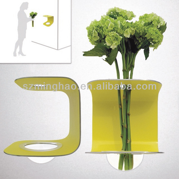 Attractive wall mounted acrylic vase , PMMA vase