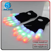 Rainbow Flash Fingertip LED Gloves Unisex Light Up Glow Stick Gloves Mittens