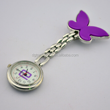 Custom Engraved Personalised Logo Purple Nurses Fob Pocket Watch Butterfly Clip On