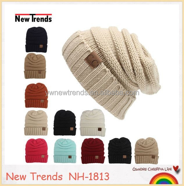 Wholesale Cable knit slouch hat Acrylic Winter women CC beanie in stock NH-1813