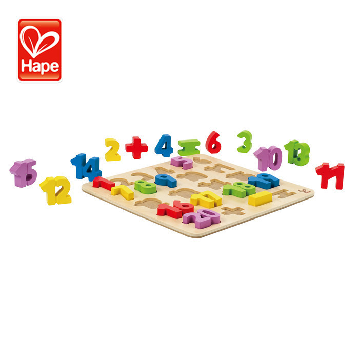 Hape Hot selling funny kids educational colorful wooden cube jigsaw puzzle blocks