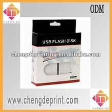 Paper usb box packaging hard disk hanging display box with handle