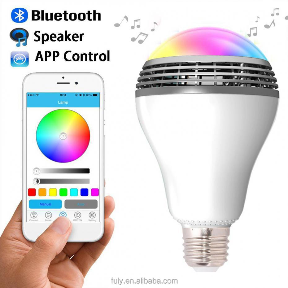 Smart LED Bulb Bluetooth Speaker LED RGB Light E27 Base Wireless Music Player with APP Remote Control