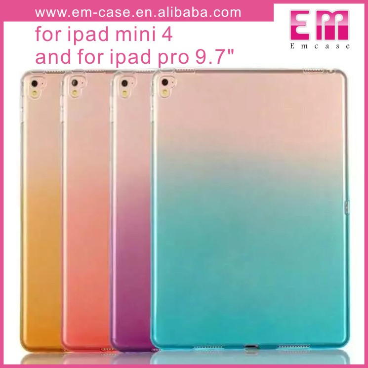 Rainbow Colors Clear TPU Rubber Tablet Case For iPad Mini4/For iPad Pro 9.7Inch Tab Case