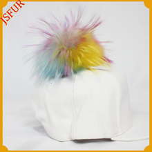 Top quality hip hop cap genuine raccoon fur ball baseball cap