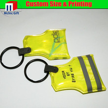 custom plastic full color Reflective keychain,reflective led keychain,pvc reflective keychain