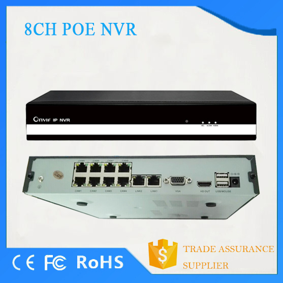 8ch security cctv system motion detection Full HD 1080P p2p onvif h.264 PoE NVR CE FCC RoHS