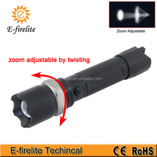 multifunction zoom police flashlight with Emergency Hammer