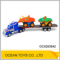 Kids playing car plastic friction power container truck toy with 4 cars OC0283842