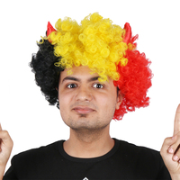 Halloween Party Afro Wigs Colorful Christmas Cosplay Hairs Clown Funny synthetic Wig New Germany Horn Multi football fans wigs