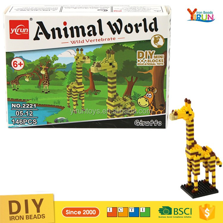 DIY kids toy kits for learning Animal nano building block plastic