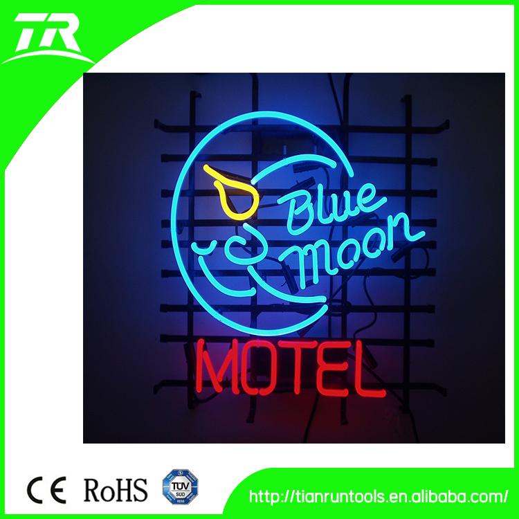 Blue moon- on large neon sign with steel shelf