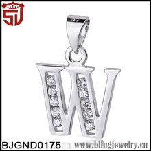Wholesale SJ Cheap 925 Sterling Silver Cubic Zirconia Jewelry Necklace Slap-up Letter W Shape Necklace for Party