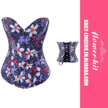 Women New Design Blue Marine Corset With Floral Decoration