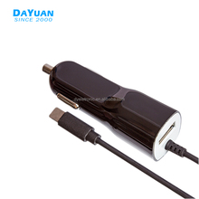 USB Type C Car Charger Adapter with With 1m PET or PVC straight cable