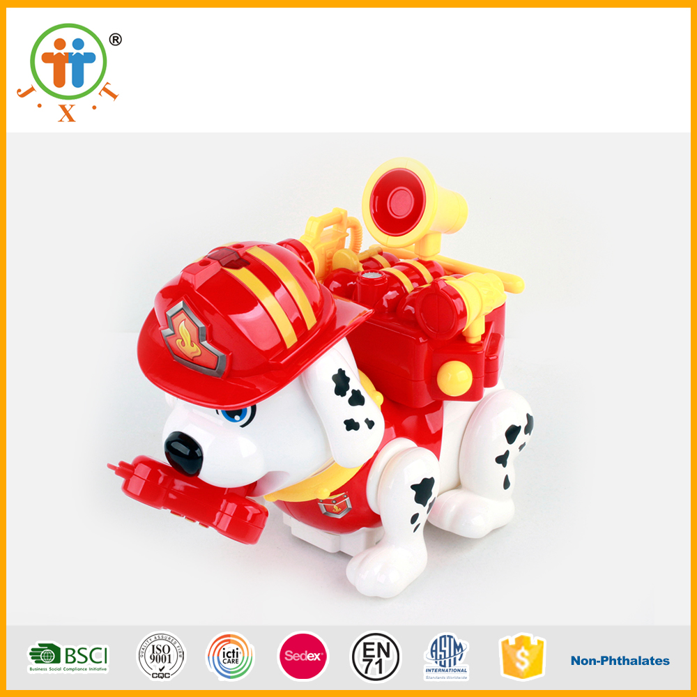 2017 B/O intelligent fire dog moving animal mechanical toys with music and light