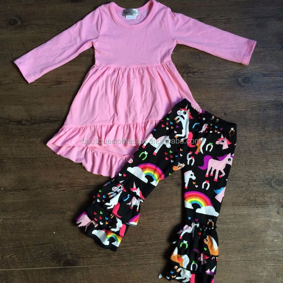 Hot sale Alibaba express clothing set lovely baby hi-low dress top &unicorn ruffle pant set wholesale clothing direct from china