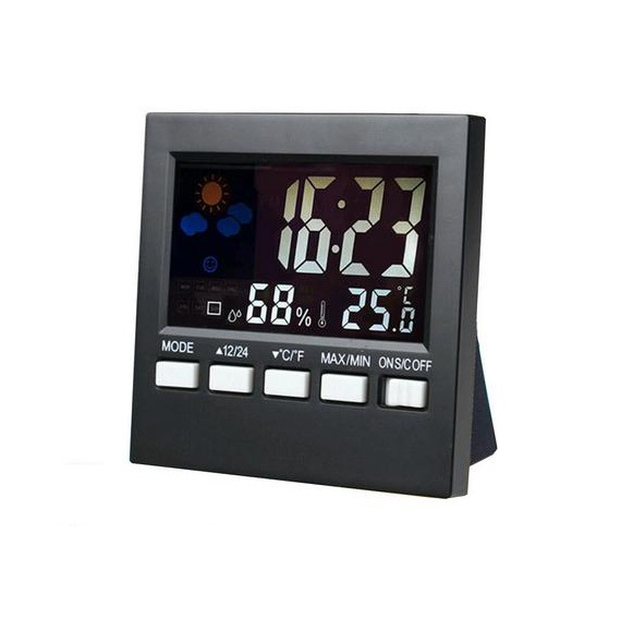 Color Digital Humidity Monitor Room Thermometer with Alarm Clock Thermometer Voice <strong>Control</strong> Backlit