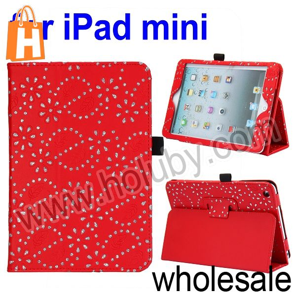 Diamond Flowers Pattern Flip Stand Leather Case for iPad Mini/Retina iPad Mini with Pen Slot (4 Colors Optional)