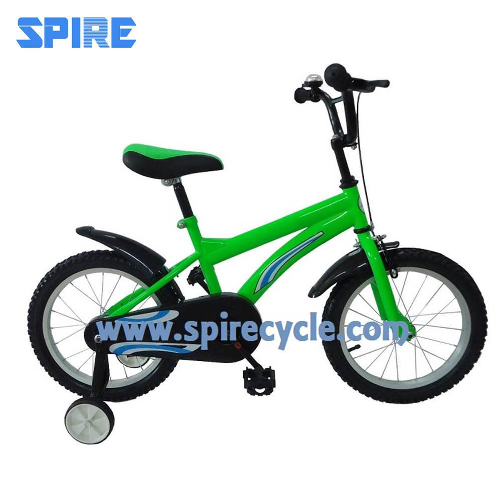 The fashion green training wheel kids bicycle with bell taiwan made bike