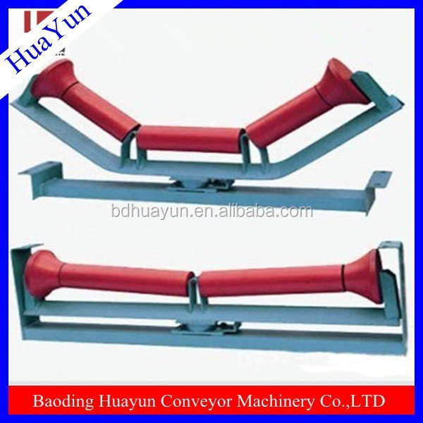 6204 bearing roller with pipe bracket for mine conveyor belt