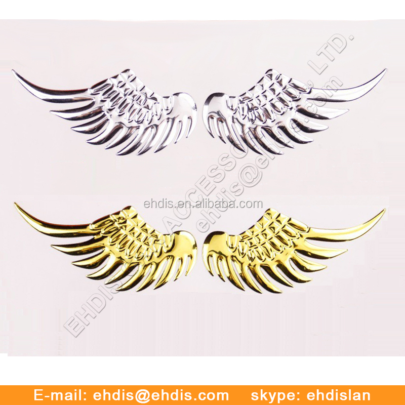 Custom Decoration Plastic Chrome Removable 3D Angel Wings Car Body Sticker