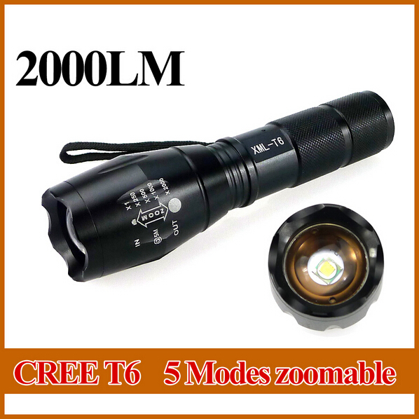LED Flashlight 10W XML-T6 2000lm Waterproof LED light 5 Modes Zoomable LED Torch AAA or 18650 battery Flashlight Torch Lamp