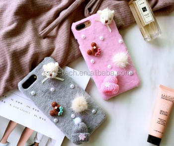 3d cartoon for iPhone 7 case,Christmas fur case for iPhone 7 case,for iPhone cartoon case
