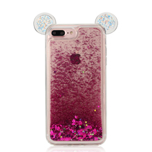 mobile phone accessories for iphone 7 case tpu liquid glitter mickey mouse bling phone case