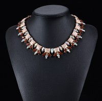 Glitter fashion women jewelry acrylic resin stone collar necklaces for dressing
