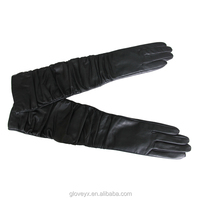 Black Leather Opera Length Gloves Genuine Nappa Lambskin Leather