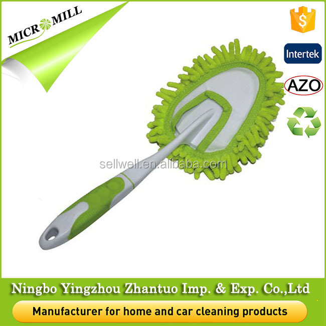 Green window cleaning hand duster