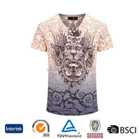 wholesale promotional OEM fashion style 3d sublimation printed comfort 100 % cotton men t-shirt