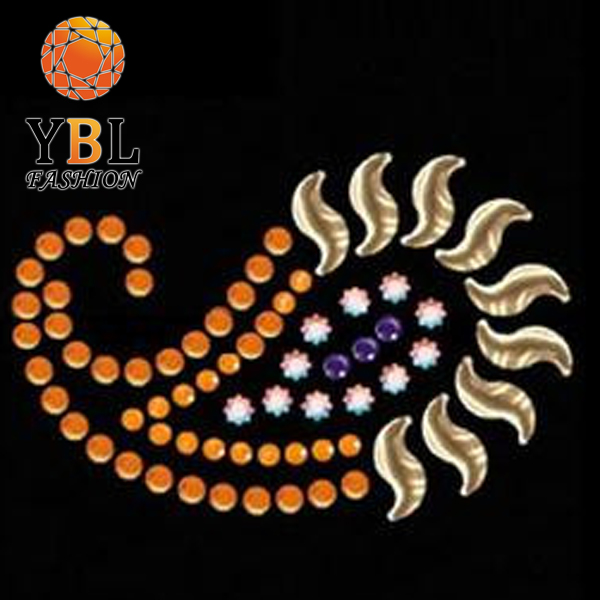 Beautifu Special Flower Logo Hotfix Rhinestone Design