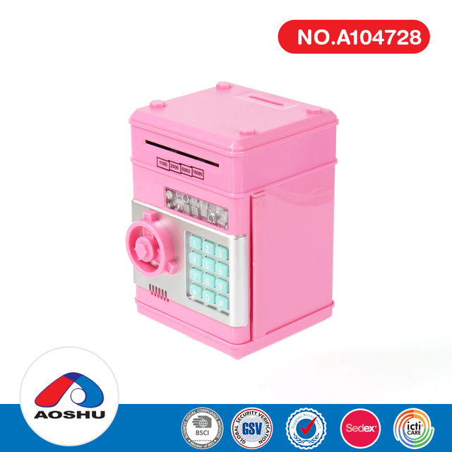 Square musical password box piggy bank secure digital coin bank for kids