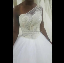 One Shoulder Full Pearls Crystals Vestido De Noiva Appliqued Big size African Ball Gown Weddding Dresses MW1010