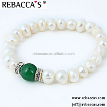 Rebaccas ladies fancy items stainless steel pearl bangle bracelet