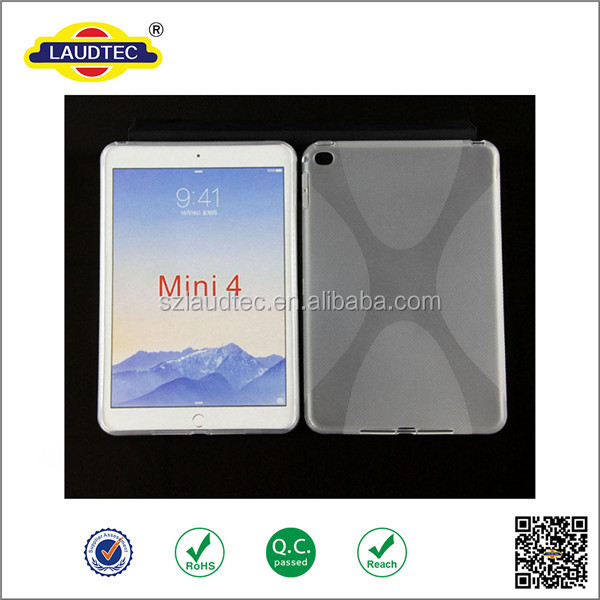 X linetransparent clear tpu shockproof back cover tablet case for ipad mini ,soft gel back cover case