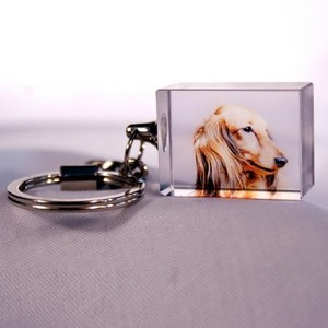 Hot Selling Personalized 3d Laser Crystal Photo Glass Magic Keychain for Love Gifts Made in China