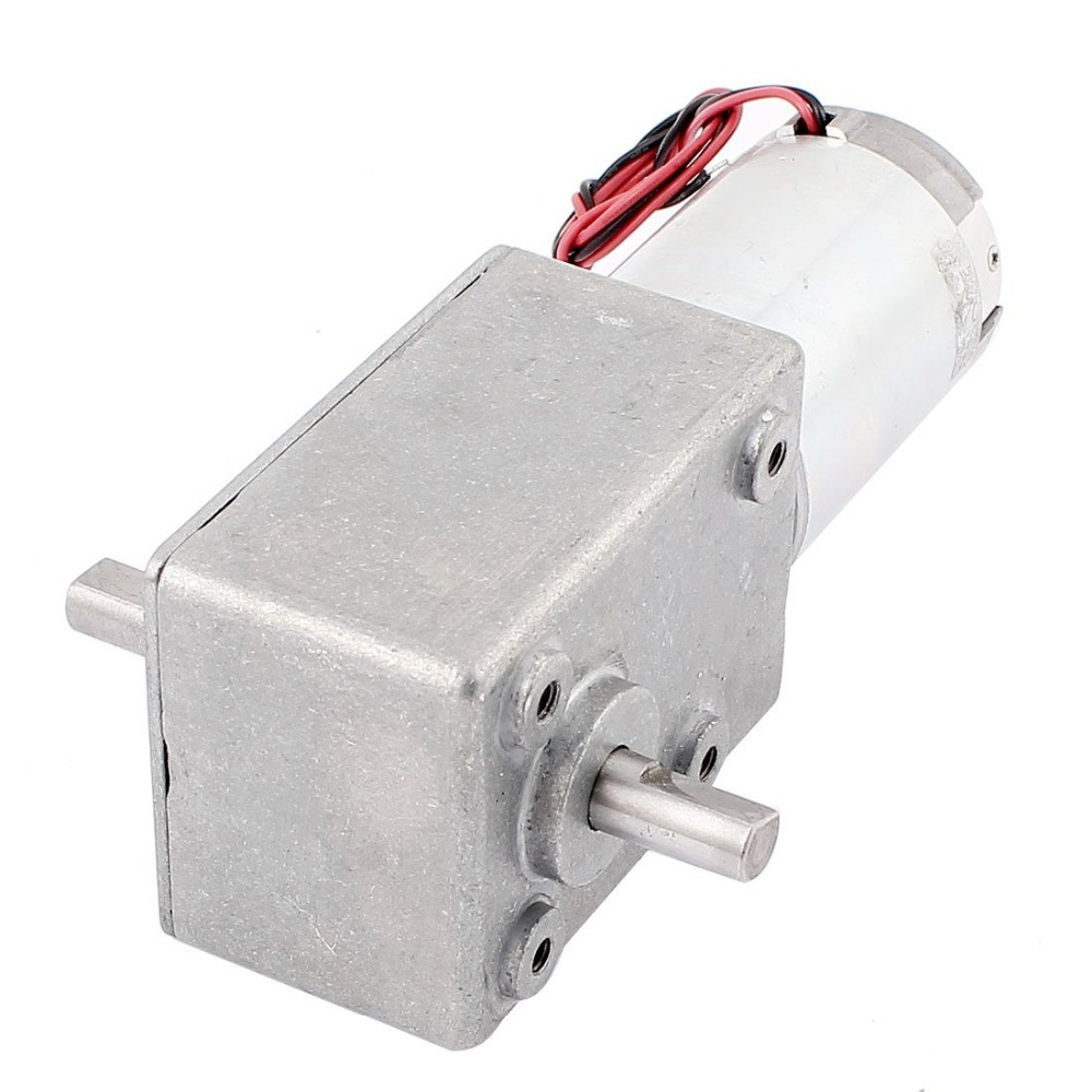 Powerful DC Motor 12v Reversible 55rpm Electric Geared Reducer Motor High Torque Double Right Angle Out Shaft 10mm with Metal Ge