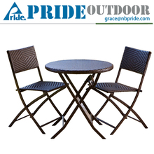 Easy Three-piece Balcony Foldable Cast Aluminum Outdoor Furniture Metal Miami Rattan Furniture