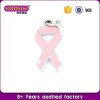 cheap pave Pink cancer awareness ribbon pendant charms