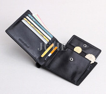 mens coin pocket wallet genuine cow leaher hidden pocket wallet anti rfid wallet