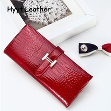 Shining Women Leather Wallet Hand bag Long 3 Fold Crocodile Women Purse for iphone 7