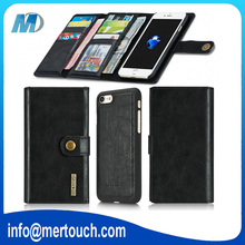 3 Fold Folio Wallet Genuine Leather Case Cover Pouch with Card Slot For iPhone 6 plus, For iPhone 7 plus pouch case