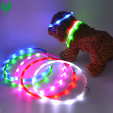 Lovely Dog Pet LED Lighting Collar,USB Rechargeable Waterproof Safety Pet Dog Collar,LED Flashing Dog Pet Collar