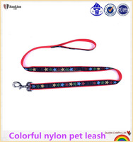 Colorful fashion design nylon pet leash with sewing tape