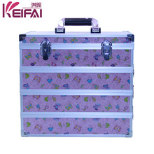 Personalized Lockable Hardshell Pink Makeup Boxes With Compartments