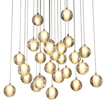 Contemporary multi heads Hot sale clear crystal round ball bubble blown glass ball chandelier