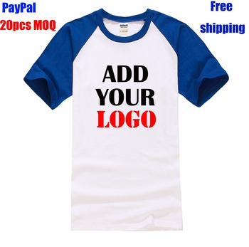 Free shipping online shopping high quality 100% cotton unisex size custom raglan t shirt
